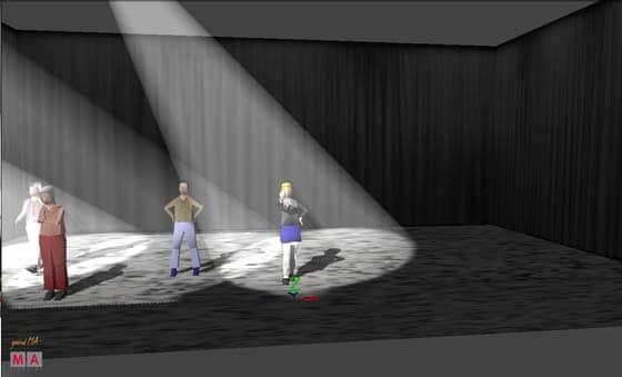 Deshalb verwendet man gerne als Licht von Vorne Profilscheinwerfer, denn mit Ihnen kann man mit den Blendenschieber genau und sauber das Licht abschieben bzw. den Lichtwurf auf die Bühnenkante abschatten.