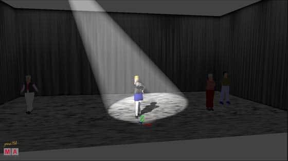 Der Lichtkege geht direkt auf den Darsteller mit dem Lichtschwerpunkt im GEsicht