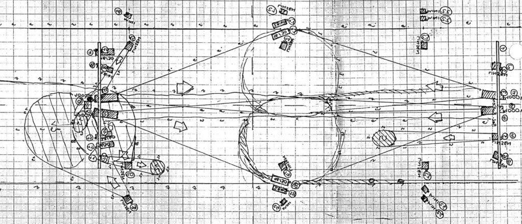 Skizzierter Lichtwurfplan, zeigt die Lichtkegel auf der Szenenfläche
