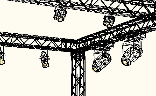 Es werden Movinglights an einer Traverse gezeigt.