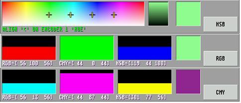 Darstellung der Farbauswahlmöglichkeiten an einem Lichtstellpult