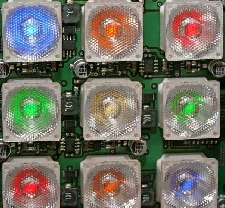 Platine mit bestückter LED und Kollimatoren