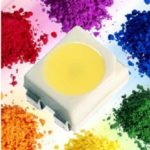 SMD LED mit verschiedenfarbigen Phosphoren umrandet