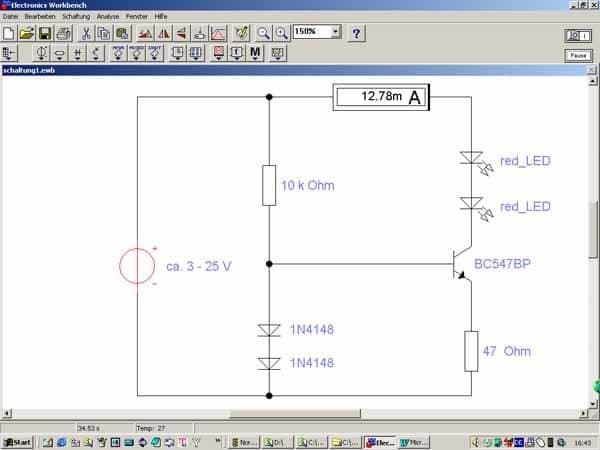 Treiber für Konstanstrom zum Betreiben einer LED