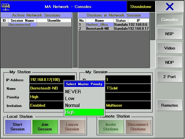 Screenshot MA-Pult Session aufbau