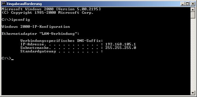 Screenshot ipconfig