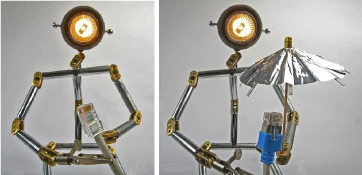 Lichtlein mit Geschrimtes und ungeschirmtes Kabel