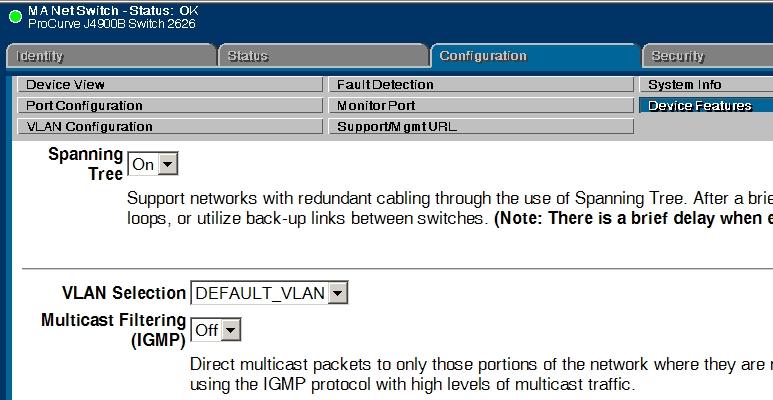 Screenshot Konfiguration Spanning TRee