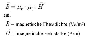 Formel Fluss und Feldstärke magnetisch